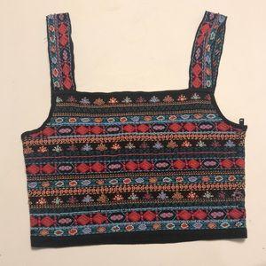 Zara Embroidered/Beaded Crop Top
